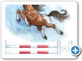 Watercolor: Horse jump