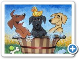 Acrylic painting: Three Labs in a Tub